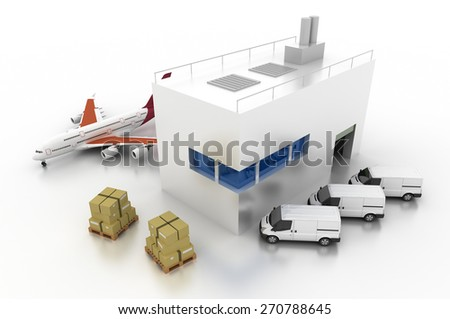 Logistics and shipping concepts, 3d render isolated on white. - stock photo