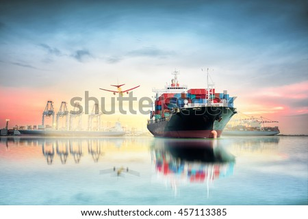 Logistics and transportation of Container Cargo ship and Cargo plane with working crane bridge in shipyard at Twilight sky, logistic import export background and transport industry. - stock photo