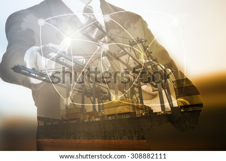Logistics concept shipment network technology  with touching ship goods concept. - stock photo