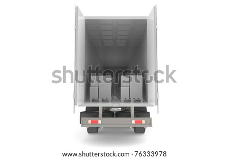 Logistics. Rear view of trailer with pallets. Abstract. Part of warehouse series. - stock photo