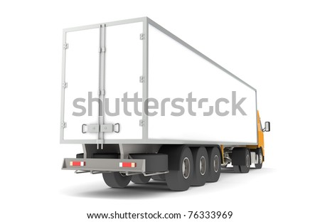 Logistics - Trucking. Rear side view of a Trailer Semi-Truck. Part of warehouse series. - stock photo