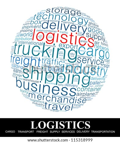 Logistics Word collage on white background - stock photo