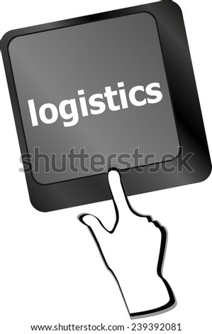 logistics words on laptop keyboard, business concept - stock photo