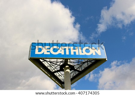 LOGNES, FRANCE - APRIL 17, 2016: Decathlon logo. Decathlon is a French company of sporting goods distribution. It currently operates in 28 countries.