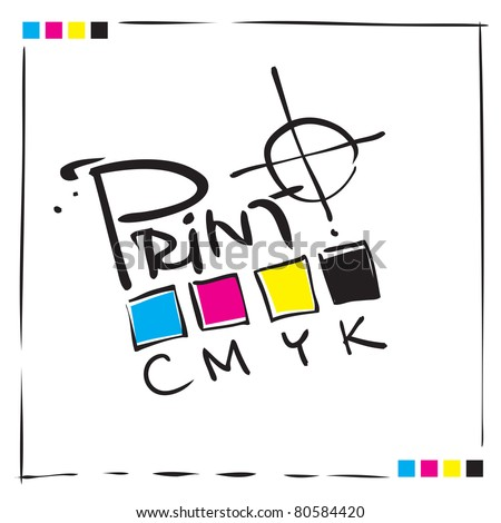 Logo CMYK Print concept design, painterly calligraphic freehand style (raster version) - stock photo