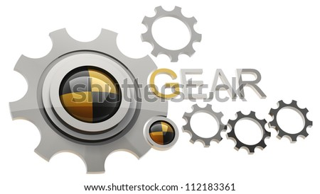 LOGO gear wheels isolated on white background 3d render - stock photo