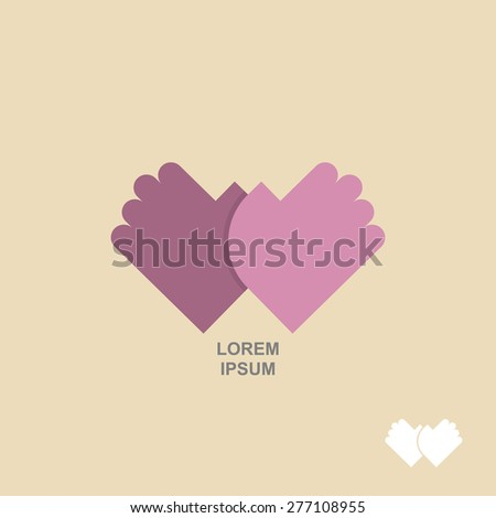 logo hands together. Template for  business concept of Partnership, meeting, greeting - stock photo