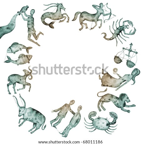 Logo-like Zodiac Star Signs isolated on a white background - stock photo