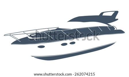 Logo yacht club in the form of a boat - stock photo