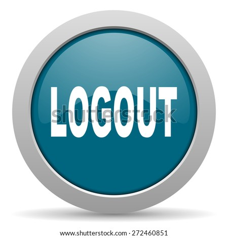 logout blue glossy web icon  - stock photo