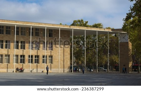 LOGRONO, SPAIN, OCTOBER 25, 2014: People are passing by in front of the town hall in spanish city logrono.