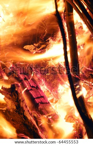 logs in the fire close up - stock photo