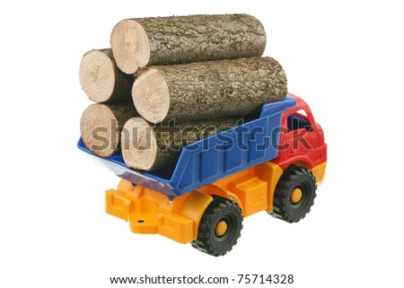 Logs in the truck are isolated on a white background - stock photo