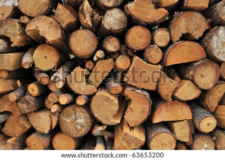 Logs of firewood in a nice stack, all piled up together. - stock photo