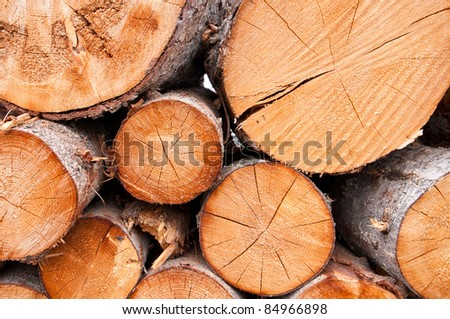 Logs of various sizes piled on top of one another showing texture. - stock photo