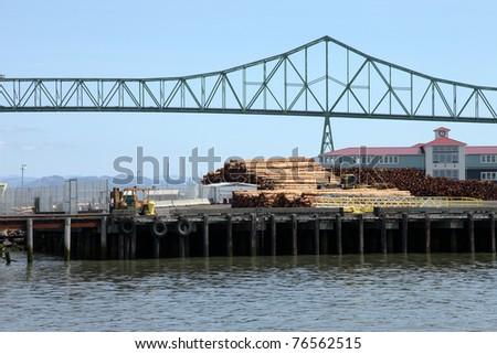 Logs on a pier for export, Astoria Oregon. - stock photo