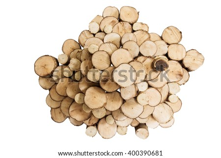 Logs wood cut section decoration, isolated on white background - stock photo