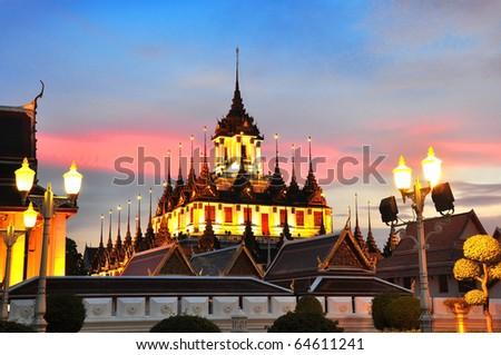 Loha Prasat Metal Palace  in Bangkok Thailand - stock photo