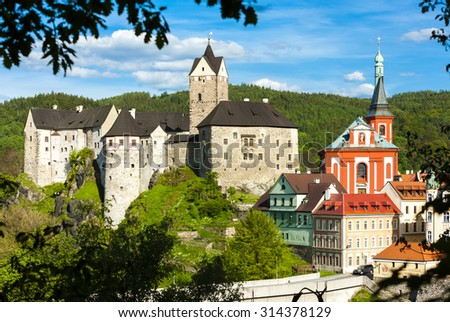 Loket Castle with town, Czech Republic - stock photo