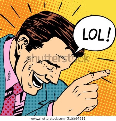 lol the man laughs humor reaction Joker retro style - stock photo