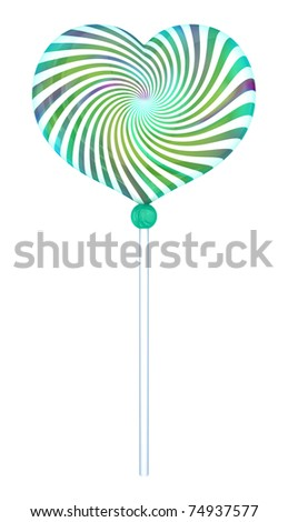 Lolipop shape of heart with hypnotic drawing. Isolated on white. 3d rendered. - stock photo