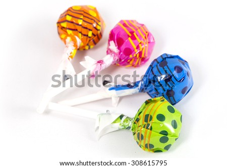 Lollipop Candy Colorful on white background - stock photo