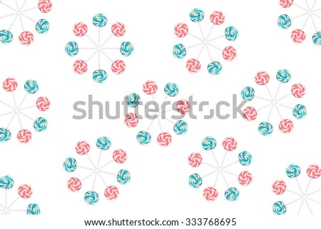 Lollipop wheels on isolated - over white. - stock photo
