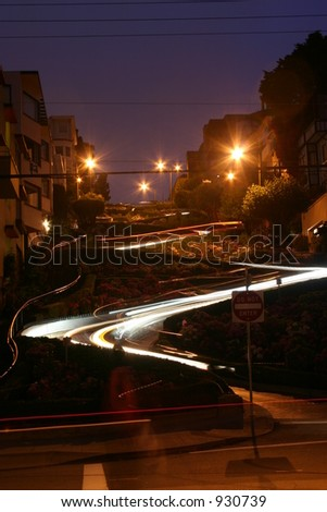 Lombard Street at Night in San Francisco, California, U.S.A. - stock photo