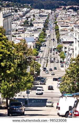 Lombard Street in San Francisco - stock photo