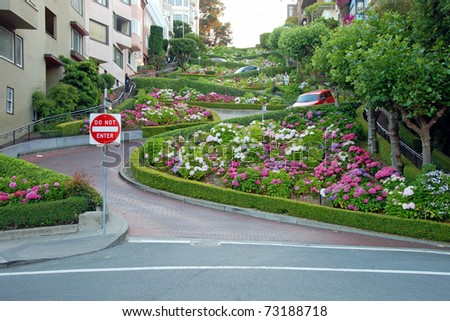 Lombard street in San Francisco, the crookedest street in the world. - stock photo