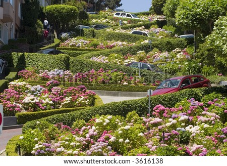Lombard Street in the crookedest street in the world, San Francisco - stock photo