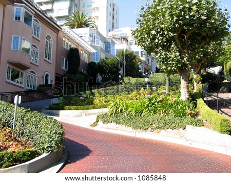 Lombard Street, Most Crooked Street in the World - stock photo