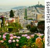 Lombard street on Russian hill, San Francisco - stock