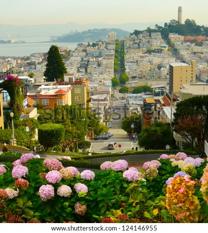 Lombard street on Russian hill, San Francisco - stock photo