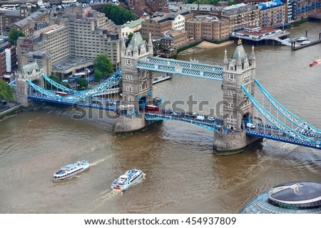 London aerial view with Tower Bridge and river Thames. - stock photo