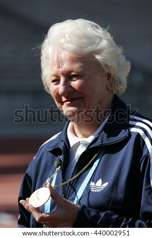 LONDON - APR 1, 2012: Dame Mary Peters at the Gold Challenge Olympic Stadium Event held at the Olympic Park in Stratford on Apr 1, 2012 in London