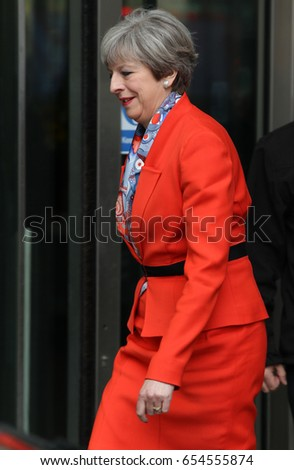LONDON - APR 30, 2017: Prime Minister Theresa May attends the BBC Andrew Marr Show at the BBC Studios in London