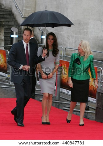 LONDON - APR 25, 2012: Prince William, Duke of Cambridge and Catherine, Duchess of Cambridge attend the UK premiere of African Cats at BFI Southbank on Apr 25, 2012 in London   - stock photo