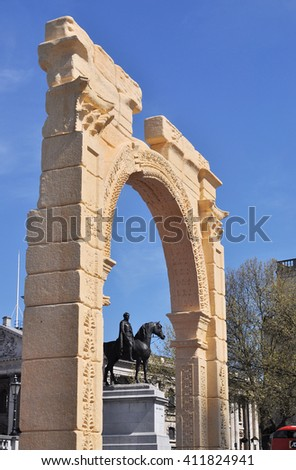 LONDON - APRIL 20, 2016. A replica of the 1800 year old Palmyra Arch of Triumph, destroyed by Islamic militants, reproduced in marble using digital archaeology, displaying for three days in London.