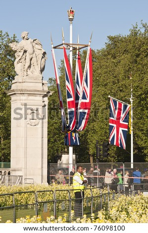 LONDON - APRIL 27: All areas around Buckingham Palace decorated for Prince William and Catherine Middleton's royal wedding celebration to take place April 29. April 27, 2011 in London, England. - stock photo