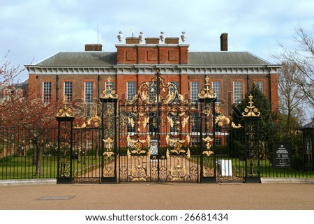LONDON - APRIL 17: An exterior view of Kensington Palace is shown on April 17, 2004 in London. The palace has been a British Royal Family residence since the 17th century. - stock photo