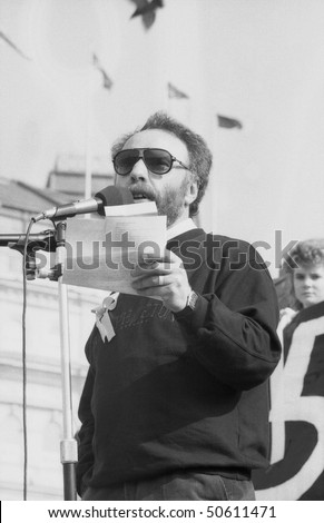 LONDON - APRIL 13: Brian Keenan, British writer and teacher who was held hostage in Beirut, speaks at a rally in support of fellow hostage John McCarthy on April 13, 1991 in London.