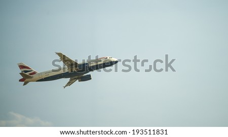 LONDON - APRIL 11, 2014: British Airways airplane takes off in Heathrow airport. British Airways is the flag carrier airline of the United Kingdom, operating 256 aircrafts - stock photo