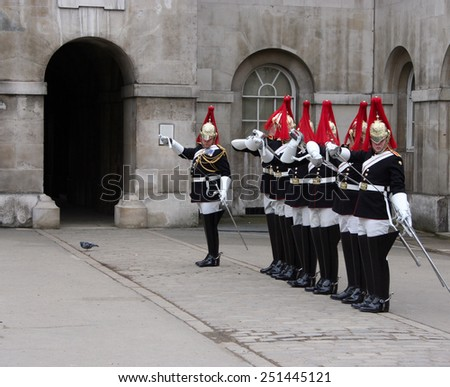 LONDON - APRIL 6,2008: Changing of the Guard London on April 6, 2008 in London. - stock photo