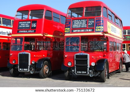 LONDON - APRIL 10: Classic London buses at the annual Cobham Bus Museum Gathering April 10, 2010 in London - stock photo