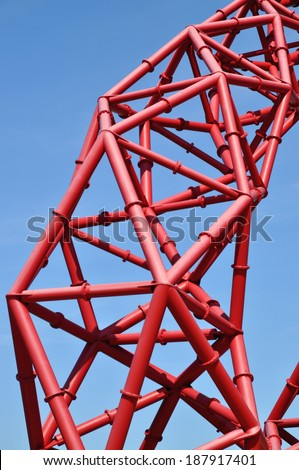 LONDON - APRIL 16. Detail of the ArcelorMittal Orbit at the new Queen Elizabeth Olympic Park on April 16, 2014, the symbolic legacy of the Games designed by Anish Kapoor and Cecil Balmond, in London. - stock photo