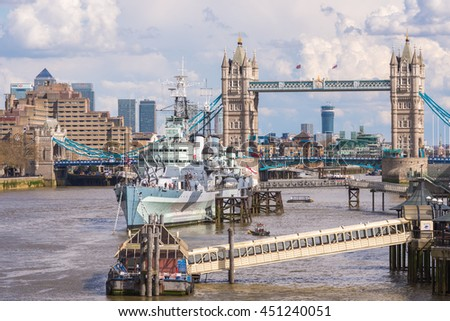 London : APRIL 12,2016 : HMS Belfast and Tower Bridge with the River Thames in London, England