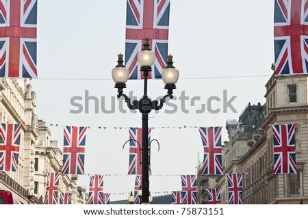 LONDON - APRIL 24: London hangs up buntings for Prince William and Catherine Middleton's royal wedding celebration to take place April 29 at Westminster Abbey. April 24, 2011 in London, England.