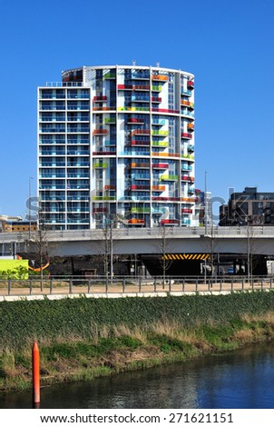 LONDON - APRIL 18, 2015. New apartment buildings transform the  landscape of Stratford; part of a huge regeneration programme from industrial wasteland in the Borough of Newham, London. - stock photo