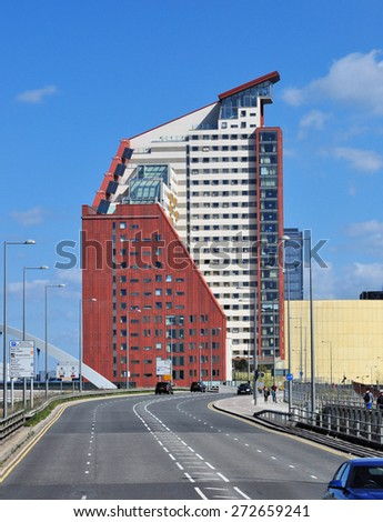 LONDON - APRIL 18, 2015. New apartment buildings transform the  landscape of Stratford; part of a huge regeneration programme from industrial wasteland in the Borough of Newham, London, UK. - stock photo